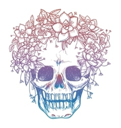 Colorfull skull and flower headdress vector