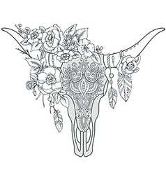 Decorative Indian bull skull with ethnic ornament vector image