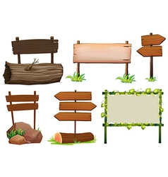 Different design of wooden signs vector image vector image