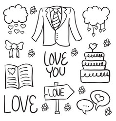 Doodle of wedding element vector