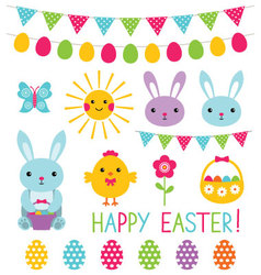 Easter elements collection vector