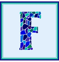F - letter - green watercolor mosaic vector