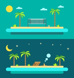 Flat design of summer paradise beach vector image vector image