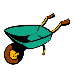 gardening wheelbarrow icon cartoon vector image