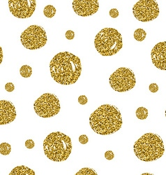 Gold circles seamless pattern on white background vector image