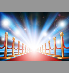 Grand entrance with red carpet and flash lights vector