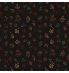 Hand-drawn seamless cupcake pattern vector