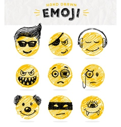 Hand drawn set of Emoticons vector image vector image