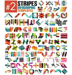 Huge set of stripe infographic templates 2 vector
