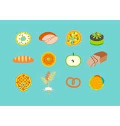 Icon set with pastries vector image