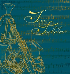 Music background with trumpets and saxophone vector image vector image