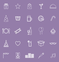 Party line icons on violet background vector