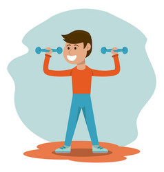 Physical education - boy weight lifting physical vector
