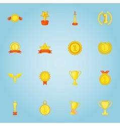 Rewarding icons set cartoon style vector