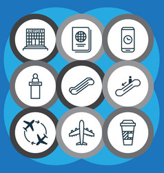 Set of 9 airport icons includes registration vector
