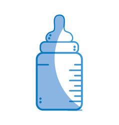 Silhouette baby feeding bottle to drink vector