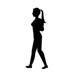 silhouette girl ponytail with package vector image