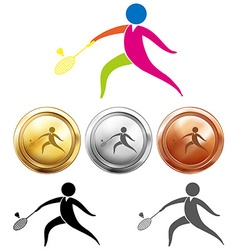 Sport icon and medals for badminton vector image vector image
