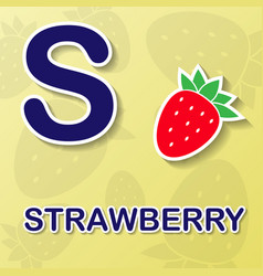 strawberry alphabet background vector image
