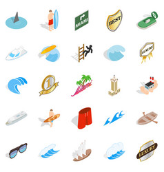 surfing icons set isometric style vector image vector image