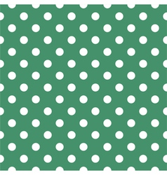 Tile pattern with polka dots on green background vector image vector image