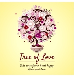 Tree of love - romantic gift card vector image