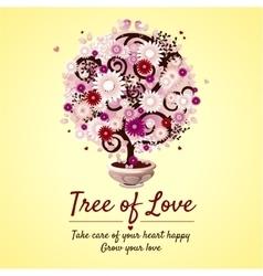 Tree of love - romantic gift card vector