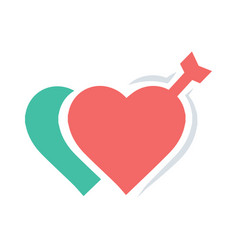 Valentines two heart arrow red icon vector
