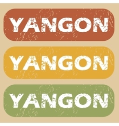 Vintage yangon stamp set vector