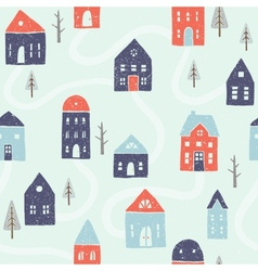 Winter houses seamless pattern vector image