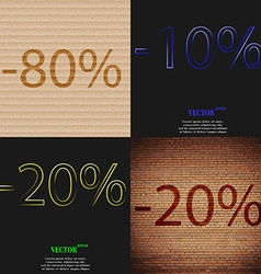 10 20 icon set of percent discount on abstract vector