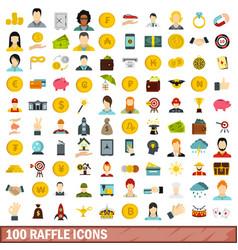 100 raffle icons set flat style vector
