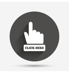 Click here hand sign icon press button vector