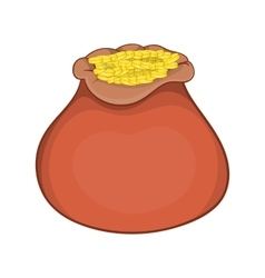 Bag of gold coins icon cartoon style vector