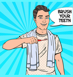 Pop art happy man with toothbrush oral hygiene vector