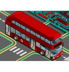 Isometric double decker bus with open doors vector