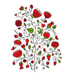 Floral ornament sketch for your design vector