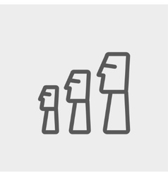 Easter island statues thin line icon vector