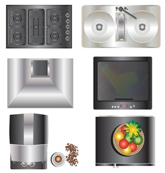 Kitchen equipment top view set 9 vector