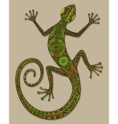 Hand drawn lizard or salamander with ethnic tribal vector