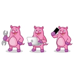 Purple pig mascot with tools vector
