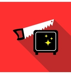 Magician sawing box icon flat style vector