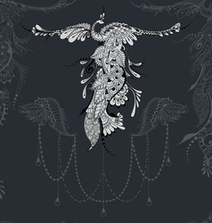 Bird phoenix lace decor vector