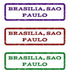 Brasilia sao paulo watermark stamp vector