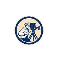 Cameraman vintage film camera circle retro vector