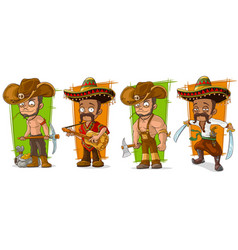 Cartoon mexicans and cowboys character set vector