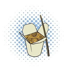 Chinese noodle in box comics icon vector