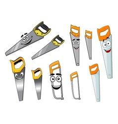 Cute cartoon hand saws with serrated blade vector image
