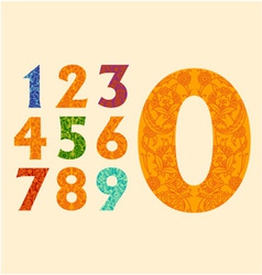 Cute decorative numbers set vector image