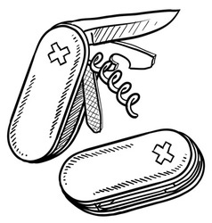 Doodle pocket knife handy vector